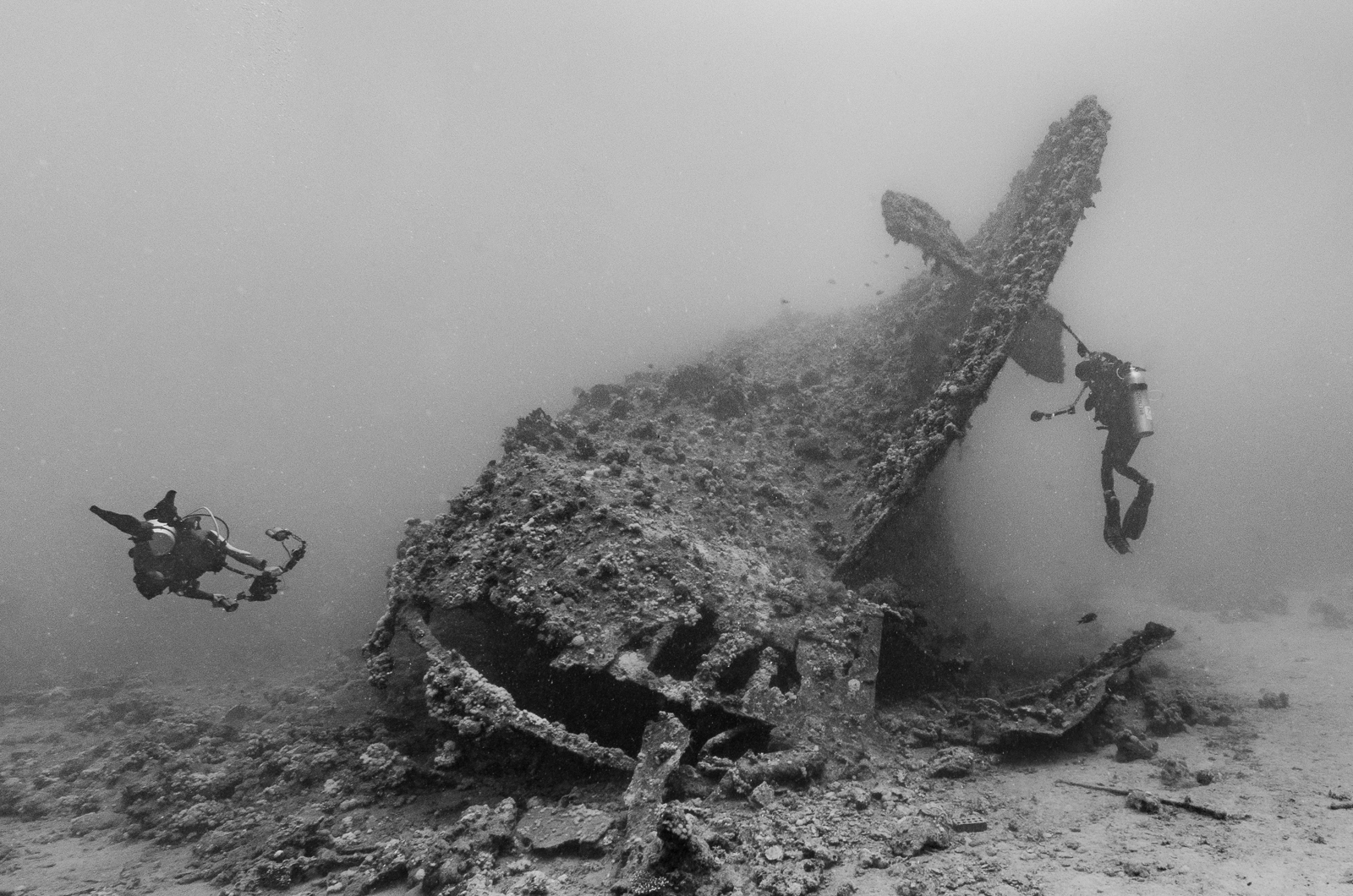 Divers photographing the wreck